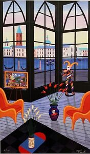 """FANCH LEDAN """"PALAZZIO VIEW"""" Hand Signed Limited Edition Serigraph Art on Canvas"""