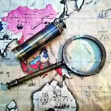 Set Of Two Antique Solid Brass Victorian Telescope With Brass Magnifying Glass