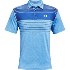 NWT MEN'S UNDER ARMOUR PLAYOFF 2.0 STRIPED BLUE/WHITE GOLF POLO TOP $65