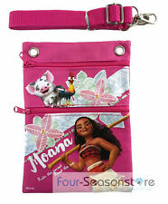 Disney Pink Moana Wallet Camera Pouch Bag Purse Shoulder Strap 7.5""