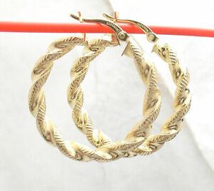 Technibond Diamond Cut Twisted Hoop Earrings 14K Yellow Gold Clad Silver