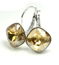 Silver Plated Earrings made with SWAROVSKI Crystals SHEENA *GOLDEN SHADOW* 12mm