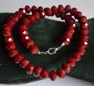 Traumhafte blutrote Glas-Perlenkette - facettiert geschliffene Glas Perlen Kette