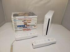 Nintendo Wii RVL-001 White Edition Bundle 2 Remotes 9 games GameCube Compatible