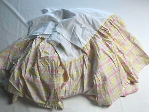 """Pottery Barn Kids Cotton Bed Skirt Pink Green Yellow Plaid Full Size 13.5"""" Drop"""