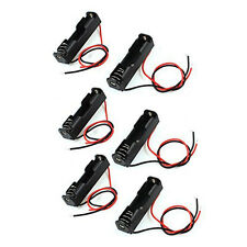 6Pcs Wired Connector 1.5V AAA Battery Holder Plastic Case Storage Box black LW