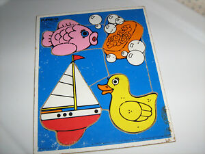 """Vintage Playskool Children's WOODEN  PUZZLE """"For My Bath"""" Collectible"""