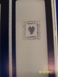 Embossed Silver Heart Ivory Jamie Lynn Wedding Party Pillar Unity Candle