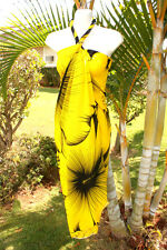 Sarong Hawaii Hawaiian Cover-up Cruise Beach Wrap Dress ~  YELLOW GIANT HIBISCUS