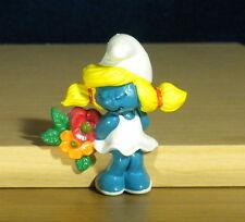 Smurfs Magnet Smurfette Flowers Smurf Figure Rare Vintage 1983 Toy PVC Figurine