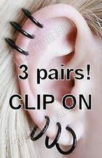 3pairs! CLIP ON BLACK HOOP EARRINGS hoops PUNK,GOTH,EMO