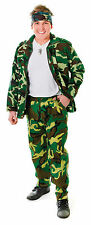 MILITARY MEN'S CAMOUFLAGE ARMY TROUSERS FOR ADULT FANCY DRESS ONE SIZE