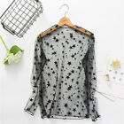 Women's Floral Embroidered Mesh Sheer See Through Black Blouse Tshirt Top Blouse