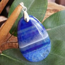 Natural Gemstone Striped Blue Teardrop Druzy Geode Agate Pendant Necklace