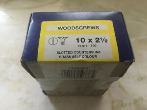 IMPERIAL BRASS WOOD SCREWS 10 X 2.5 INCH SLOTTED COUNTERSUNK UNOPENED BOX OF 100