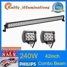 "PHILIPS 42""INCH 240W LED LIGHT BAR SPOT FLOOD 4X4WD+2X 4'' 18W CREE OFFROAD LAMP"
