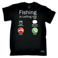 Fishing Fishing Calling Me angling fish rod reel funny Birthday tee T-SHIRT