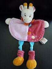 *- DOUDOU PLAT BABY NAT babynat' GIRAFE MAE ROSE ORANGE BLEU - 2 DISPO