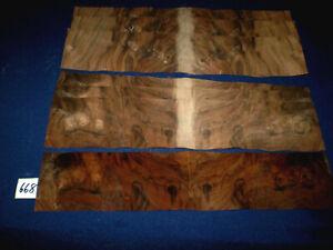 Nussbaum Maser Furnier    400 x 85 mm   8 Blatt      Nr. 668