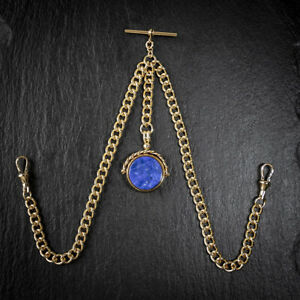 18ct Gold Plated Double Albert Chain & Lapis Lazuli Spinner Fob for Pocket Watch
