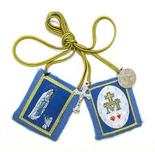 Scapular Immaculate Conception Lourdes Blue Scapular 100% Wool & Medals Catholic