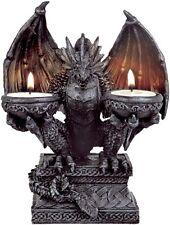 Drachen Teelichthalter für 2 Teelichter Halloween Gothic Dragon Deko DRA356