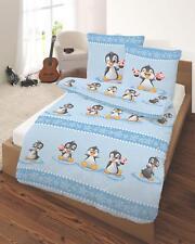 2 teilig Bettwäsche 135x200 cm Pinguin Eis blau Fein Biber Baumwolle B-Ware