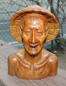 """LARGE 9"""" by 7"""" Antique HAND CARVED Wood (Walnut?) Statue ASIAN MAN in COOLIE HAT"""