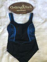 Avenue Womens Plus Size One Piece SwimSuit Black & Blue Sz 18 Wide Strap