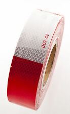 "2""x150' DOT-C2 PREMIUM Reflective Red and White Conspicuity Tape Trailer 1 Roll"