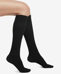 Hue Women's Socks Micro Cable Knit Knee-High Color Black One Size USA