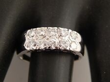 Women Double Row Round Diamond Wedding Band .75 tcw F/VS2 18k White Gold Ring