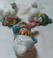 Collectible Fitz & Floyd Tumbling Snowmen set of 3 Christmas Figurines 3.3/4�