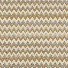 C244 Gold, Beige and Off White, Woven Chevron Upholstery Fabric By The Yard