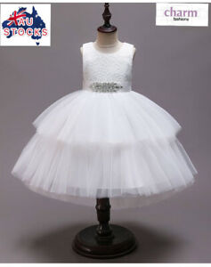 Flower Girl Communion Prom Princess Pageant Party Wedding white lace tutu dress