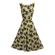 New Vintage Nostalgia 1930's 1940's Palm Tree Tropical Tea dress UK 14