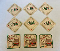 Chili's Grill and Bar Restaurant set of 9 drink coasters advertising collectible