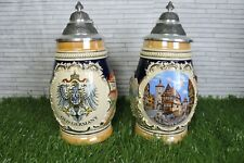 More details for pair of german made steins 95% zinn ceramic metal lid decorative old germany