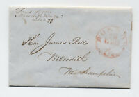 1846 Meredith Village NH manuscript stampless forwarded Boston [5249.114]