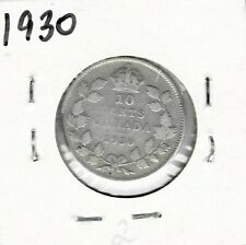 1930 Dime Canada Silver Ten Cents King George V (2) - Free Shipping!