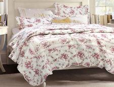 King Size 3-Piece Vintage Red Rose Quilt Set 100% Cotton w Shams Chic Bedding