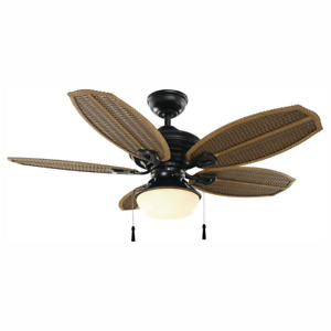 Palm Beach III 48 in. LED Indoor Outdoor Natural Iron Ceiling Fan with Light