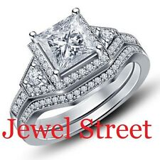 White Diamond Bridal Set Black Sterling Silver 2.33 Ct Diamond Engagement