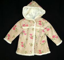 Tan Pink Floral Faux Fur Lined Hooded Jacket Coat sz 12 m months