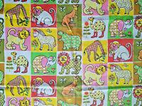 Vintage New Tastemaker Children Animal Zoo Lion Tiger Monkey Flat Twin Sheet
