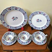 Antique 1913 China 8 pc. Queen's Ware Cheadle Pattern Wedgwood Etruria England
