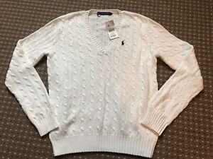 🌟Genuine🌟 Ladies RALPH LAUREN White coloured Cable Knit Jumper size XL. BNWT