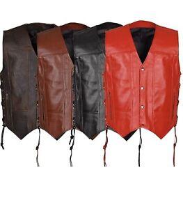 Men's Leather Vest Bikers's Vest Concealed With Gun Pocket Genuine Leather