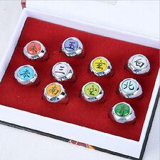 Hot Sell! new Cosplay 10 pcs NARUTO Akatsuki member's Ring Set with box
