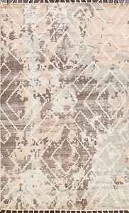 Contemporary Geometric Moroccan Oriental Area Rug Modern Wool Hand-knotted 5'x8'